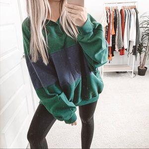 Vintage Oversized Color Block Sweatshirt